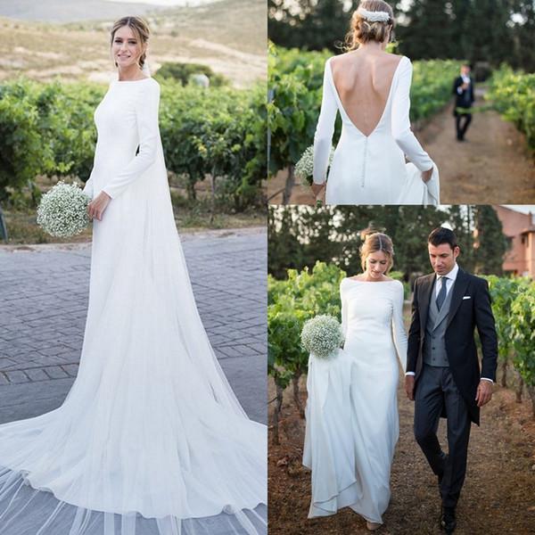 top popular Country Long Sleeves Wedding Dresses 2019 Scoop Backless Sweep Train Elastic Stain Vestido De Novia Boho Garden Bridal Gowns Cheap Custom 2019