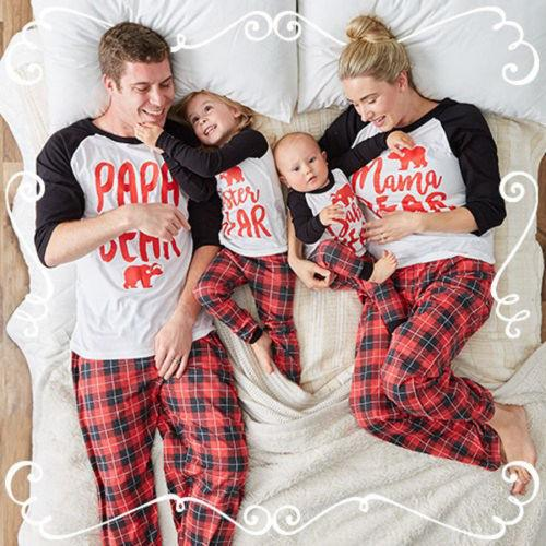 Family Christmas Pajamas.Newest Christmas Pajamas Family Look Christmas Letter Bear Printed Clothes Sets Home Pajamas Outfits Family Matching Clothing Outfits Suits Matching