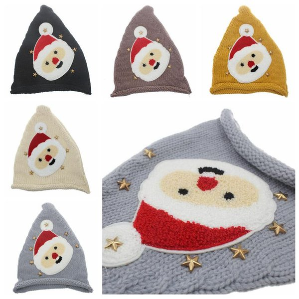 5 Colors Kids Christmas Knitted Caps Baby Santa Claus Knitting Hats Infant Knitted Cap Kids Xmas Hat Winter Beanies CCA10535 30pcs