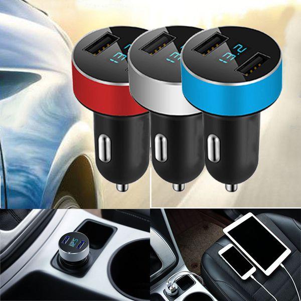 Cargador de coche LED 5V / 3.1A Carga rápida Puerto dual USB Adaptador para encendedor de cigarrillos Voltaje para Iphone Envío gratuito