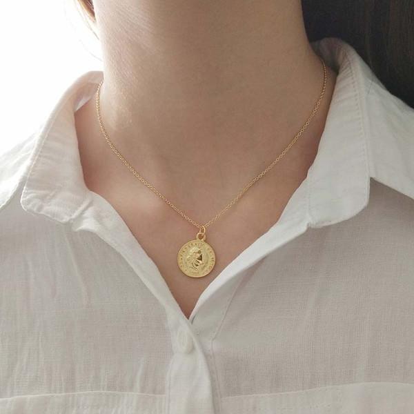 kendra scott 925 sterling silver Golden Dollar sterling silver pendant necklace gold chain necklace jewelry Send packaging