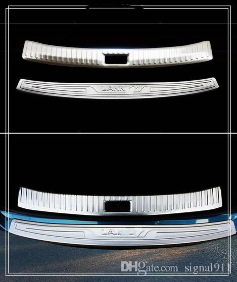 High quality 2pcs(1 internal+ external)rear trunk decoration protection scuff plate,protection bar for Nissan Lannia/bluebird 2016-2018