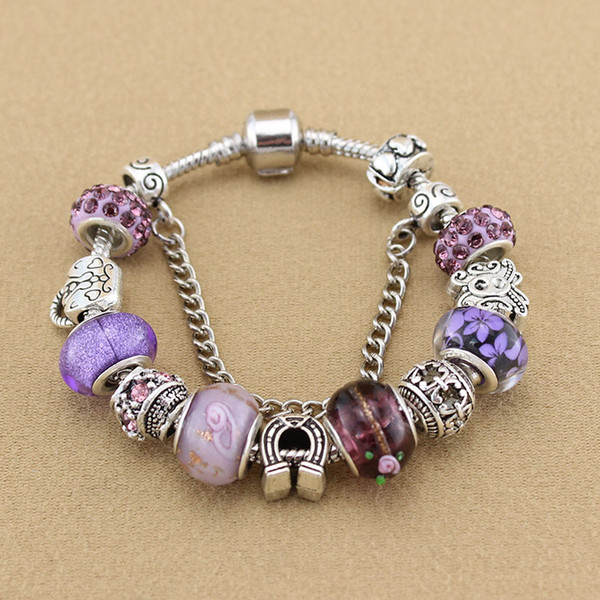 Violet Crystal Charm Silver Bracelets & Bangles for Women With Murano Beads Silver Bracelet Femme Love Jewelry