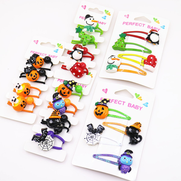 4pcs/lot Halloween new girls hairbands barrettes Christmas hairclip children baby girs cute funny hair accessories princess Hair clips