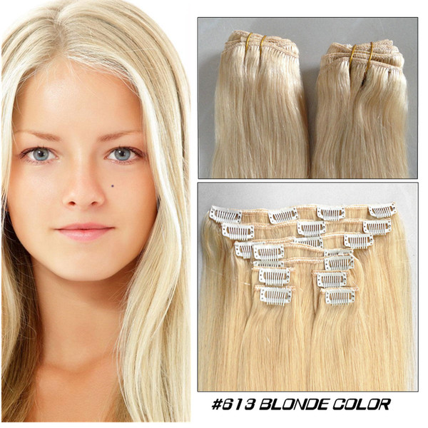 "best selling Blonde color Clip in human hair extension straight 16""-24"" Indian Remy Clip on hair cheap hair"