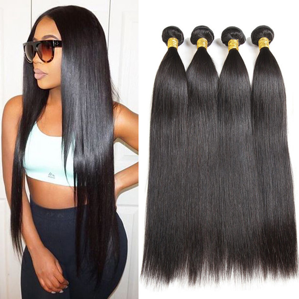 7A Brazilian Virgin Hair Straight Weaves Human Hair 4 Bundles 100% Virgin Unprocessed Brazilian Human Hair Extensions for Wholesale