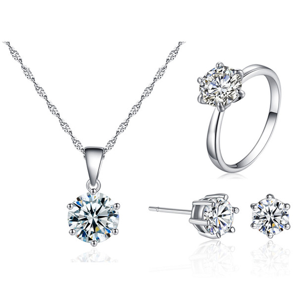 top popular Luxury 8MM Cubic zirconia Jewelry Set Silver plated CZ diamond Pendant Necklace Stud Earrings Rings Sets For women Fashion Jewelry Gift 2020