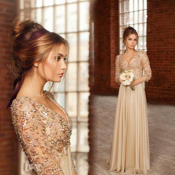 Vintage Lace Chiffon Evening Dresses With V Neck Beaded Pearls Half Sleeves Floor Length Prom Dress Custom Made Bridesmaid Dresses