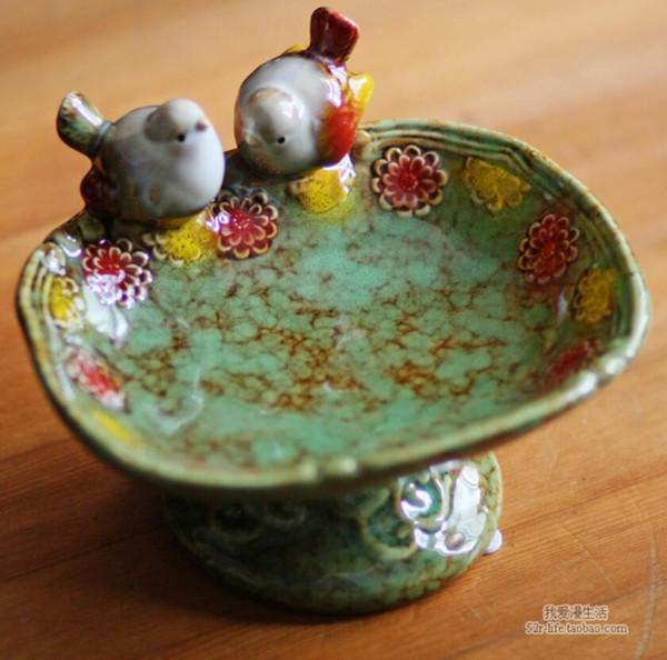 Großhandel Vintage Keramik Vogel Seifenschale Fruit Candy Dish Badezimmer  Accessoires Set Kit Hochzeit Wohnkultur Handwerk Porzellan Figur Von ...