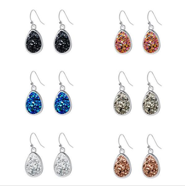 Fashion Waterdrop Drusy Druzy Earrings Silver Plated Resin Drusy Geometry rock Stone Drop Dangle Charms Earings women jewelry Gift