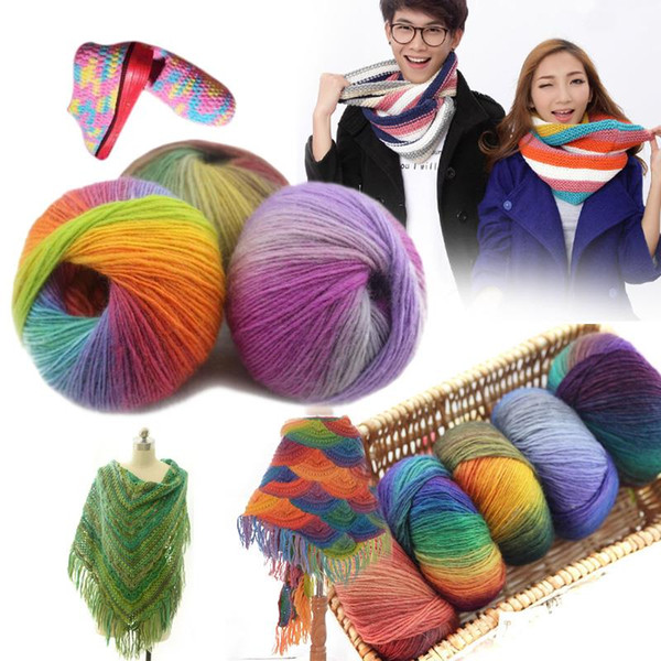 best selling 50g pcs Rainbow Wool Cotton Yarn Bamboo Protein Line Baby Fabric For Sewing For Hand Knitting Wool Yarn Sweater Scarf