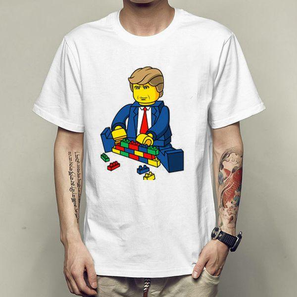 Play building block t shirt Donald Trump short sleeve gown Toy bricks tees Unisex clothing Quality modal Tshirt