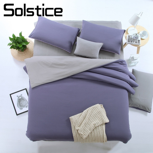 Solstice Home Textile Plain Solid Purple Gray Bed Flat Sheet Pillowcase Duvet Cover Set Bedding Suit Woman Girl Teenage Bedlinen