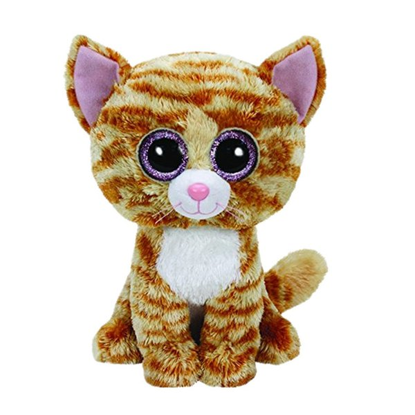 "Ty Beanie Boos 6"" 15cm Tabitha Yellow Cat Plush Regular Soft Big-eyed Stuffed Animal Collectible Doll Toy"