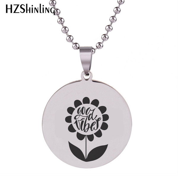 SS-0023 2018 New Sunflower Engraved Pendant Circle Charm Stainless Steel Necklace Round Handmade Jewelry Ball Chain For Men
