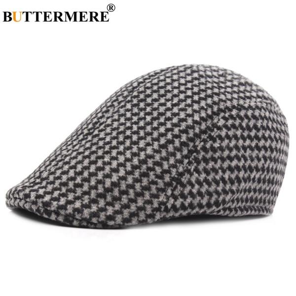 BUTTERMERE Berretti grigi per uomo Plaid Cotton Duckbill Ivy Berretti maschili a scacchi British Directors Cap Vintage Autumn Painters Hat