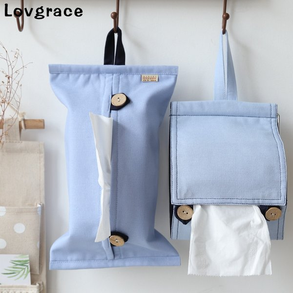 Cotton Household Goods Tissue Box Car Storage Hanging Bag Napkin Holder Paper Towel Bag Wall Hanging Type Home Decoration Gift