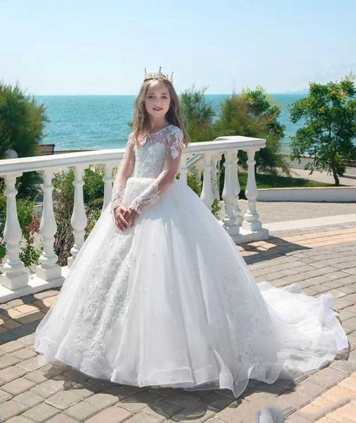 Apliques llenas de joya del corsé del desfile Vestidos de comunión Niños Vestidos de boda de lujo Princesa blanca de manga larga Vestidos de niña de las flores
