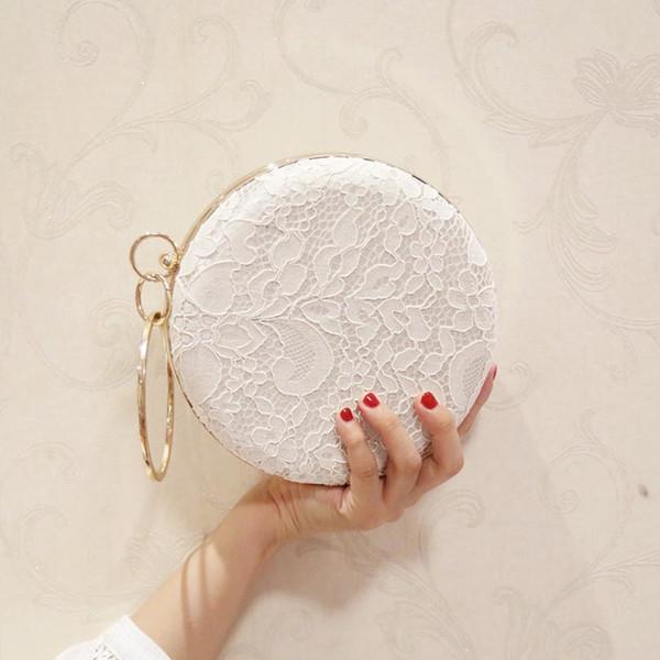European Design Women Lace Floral Decoration Clutch Bag Ladies Diamonds Evening Bag Party Wedding Hand Chain Purses Wallet