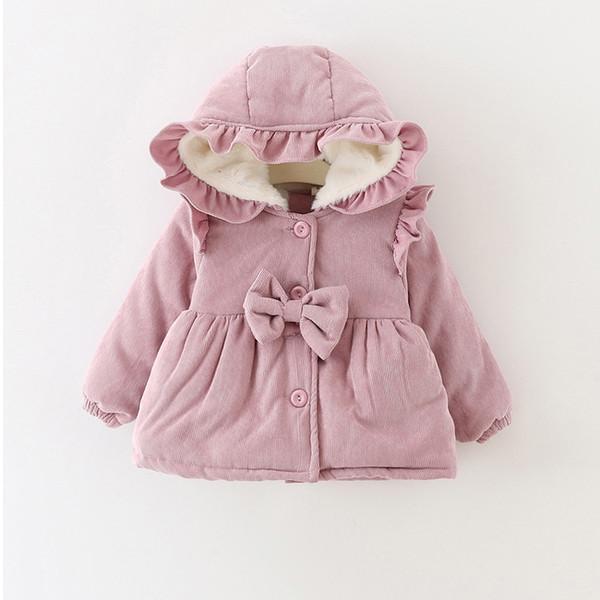 Sıcak Kış Bebek Kız Bebekler Çocuklar Kar Giyim Ruffles Kapşonlu Yay Prenses Kadife Kalınlaşmak Ceket Kaban Parkas Dış Giyim