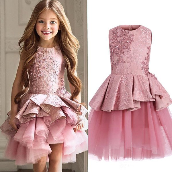 Custom Made Flower Girl Dresses for Wedding pink Lace Princess TUtu Skirt Ruffled 2017 Ball Gown Jewel Vintage Child First Communion Dress45