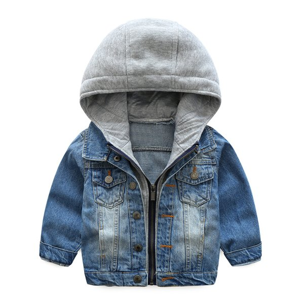 Baby Boys Coat 2018 New Spring Autumn Wash Soft Denim Coat Hooded Zipper Coat Jeans Jacket for Kids Children Clothing 6T