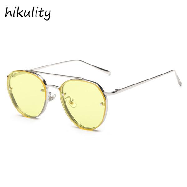 Occhiali per la visione notturna Occhiali da sole rotondi con lenti gialle Donna 2018 Occhiali da sole vintage Occhiali da sole rosa per le donne Occhiali da sole Lunette