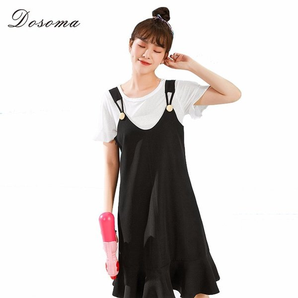 wholesale Women Two Pieces Sets Summer Suspender Ruffles Knee Length Dress And White T Shirts Sweet Big Size Female Suits Korean