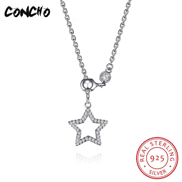 Concho Jewelry 925 Sterling Silver Star Zircon Necklace For Women Wedding Design Best Gifts 2018 Hollow Charms Pendant Necklace