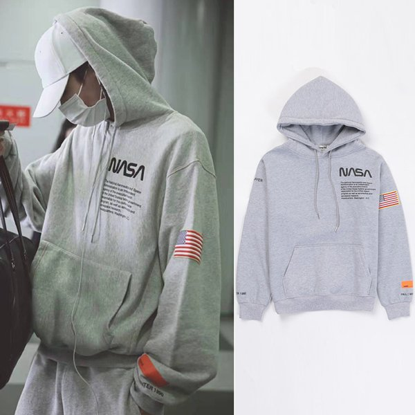 Großhandel Heron Preston NASA Hoodie Fashion Übergroße Pullover Hoodies Männer Frauen Hip Hop Streetwear Hoodie Graues Fleece Kapuzen Sweatshirt