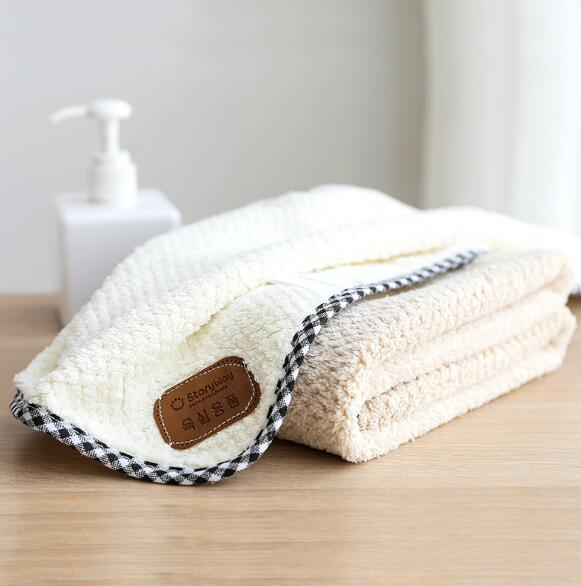 Creative simple and practical coral velvet thick towel lint-long absorbent child face towel adult couple soft wash towel