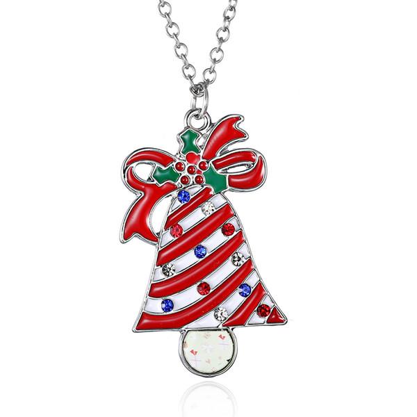 Nuevo modelo de aleación de alta calidad encanto pequeña campana gota aceite colgante collar de cristal rhinestone colgante collar de la joyería para el regalo de navidad