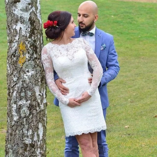 New Arrival 2018 Short Wedding Dresses Modest Jewel Neck Covered Back Pretty Full Lace Long Sleeve Country Bridal Gowns Custom Made