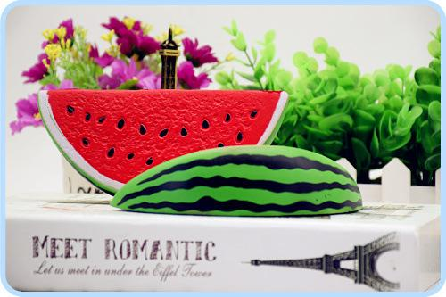 The fashion watermelon 18cm*9cm 50g squishy kawaii jumbo watermelon slow rising Squishy charm squeeze toy free shipping