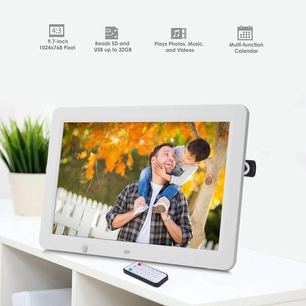 Cornice da 12 pollici HD Digital Photo Frame Sensore di movimento da 8 GB Cornice LED di memoria con telecomando senza fili Musica MP3 Video MP4