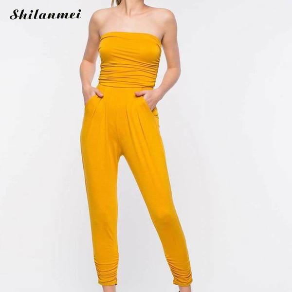Amarelo Fora Do Ombro Macacão Mulheres Verão Outono Amarelo Sem Alças  Bodysuit Ocasional Sem Mangas Compridas f274a61ba45