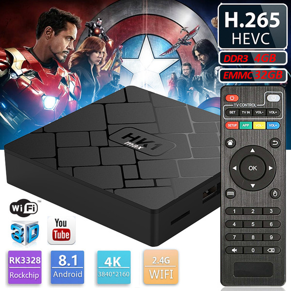 HK1 max Android8.1 TV BOX 4GB 32GB Quad Core 4K Media Player Android IPTV Boxes better than S8 Max