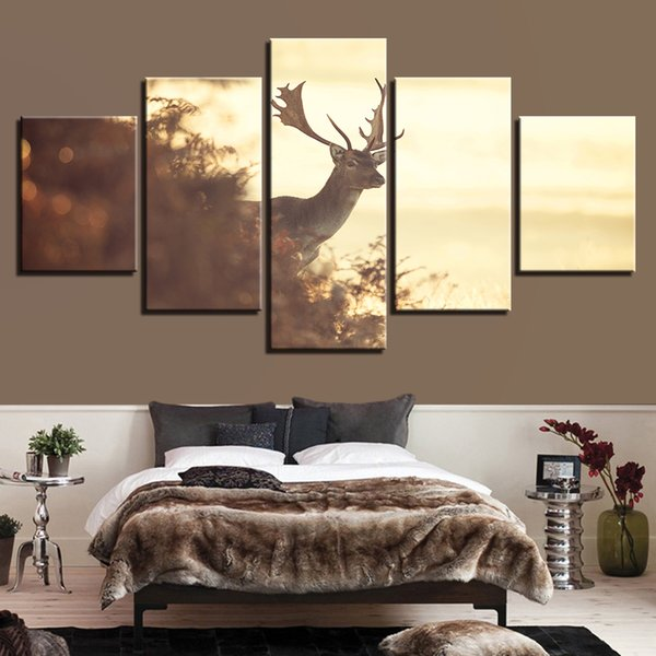 Paintings On Canvas Posters Fashion Popular 5 Panel Animal Deer Framework Pictures Vintage Prints On The Wall Home Decoration