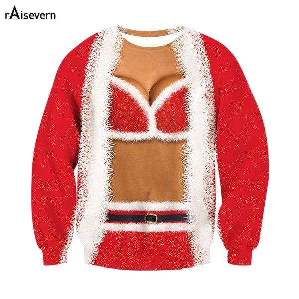2019 Raisevern Christmas Funny Fake Two-piece 3D Hoodie Sweatshirt Women 3D Printed Pullover Harajuku Hooded Hip Hop Unisex Top