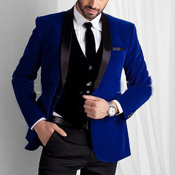 Royal Blue Velvet Men Suits for Wedding Wear Three Piece Shawl Lapel Trim Fit Groom Tuxedos Evening Dinner Suits Jacket Vest Black Pants