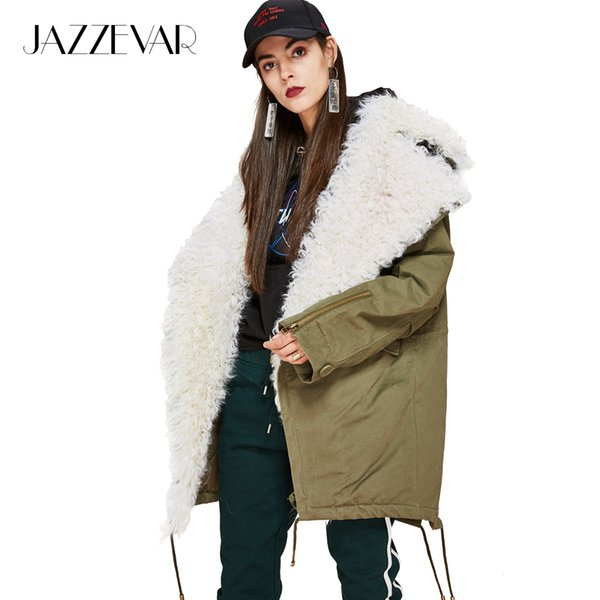JAZZEVAR 2018 New Fashion Women's real lamb fur large turn-down collar Coat Military Parka casual Outwear oversize Winter Jacket S18101505
