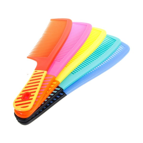 Plastic Wide-tooth Shower Hair Comb Brush Handle Wet Haircut Hairdressing Colorful Hair Style Tool Brand New Durable free shipping