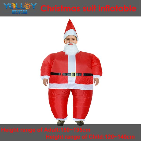 Inflatable costume father Christmas sumo wrestling dress with hat fan and power box no battery