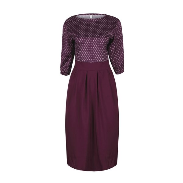 Women's Clothing Wholesale European and American fashion autumn dress sexy round neck print cropped sleeves stitching dress
