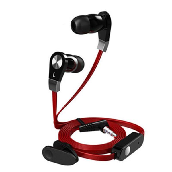 JM02 Auriculares intrauditivos Estéreo Auriculares de 3,5 mm Flat Wire Auriculares de alta fidelidad con micrófono para Samsung galaxys 7 8 9 iPhone 6 7 8s