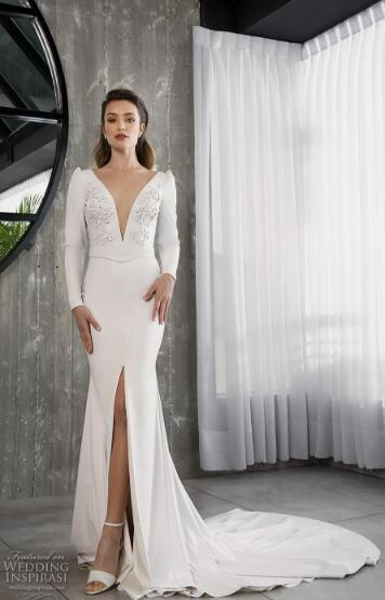 2019 luxury wedding dress high-end Gorgeous wedding dresssA lineSoft gauze, passion elegant, embroidery handmade073