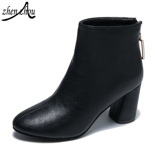 2018 free transport Women's boots autumn winter new Korean style drill round head high short boots thick heel and bare