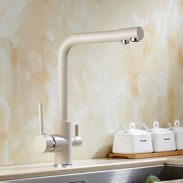 Solid Brass Beige White Kitchen Faucet Double Spout Drinking Water Filter Kitchen Faucet Tri-flow Tap for Sink