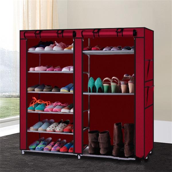 Özgünlük Ayakkabı raf Basit Ayakkabı çizmeler Dolapları Nonwoven kumaş kombinasyonu depolama tutucu Kırmızı Çift Satırlar Toz Geçirmez 29ay gg