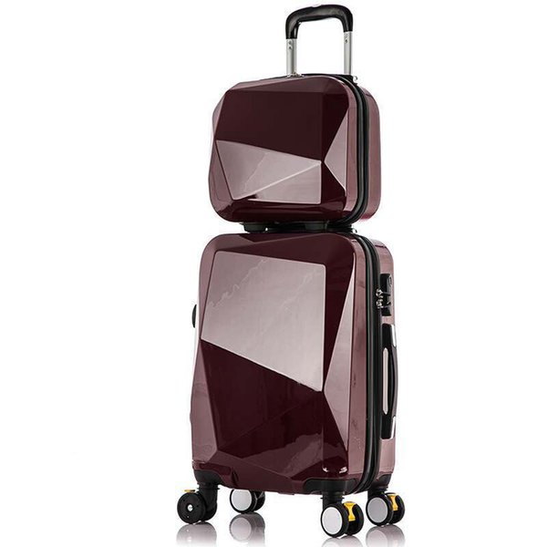 Hot 2PCS SET 20 24 28 inches trolley case Travel spinner Password luggage  section rolling suitcase fashion new Cosmeticbag 69c1395ddbd6e